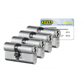 EVVA 4KS cilinder nikkel (standaard) met kerntrekbeveiliging (4x) - SKG***