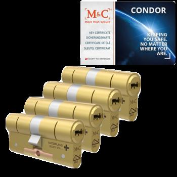 M&C Condor messing cilinder met kerntrekbeveiliging (4x) - SKG***