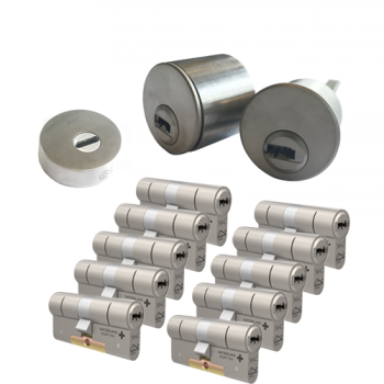 Ombouwset met RVS kerntrekrozet + M&C Condor cilinder (10x) - SKG***
