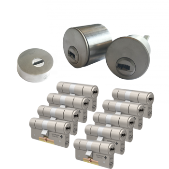 Ombouwset met RVS kerntrekrozet + M&C Condor cilinder (9x) - SKG***