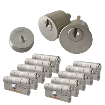 Ombouwset met RVS kerntrekrozet + M&C Matrix cilinder (10x) - SKG***