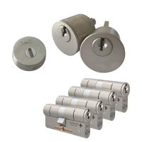 Ombouwset met RVS kerntrekrozet + M&C Matrix cilinder (4x) - SKG***