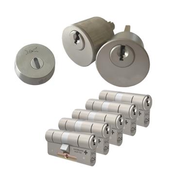Ombouwset met RVS kerntrekrozet + M&C Matrix cilinder (5x) - SKG***