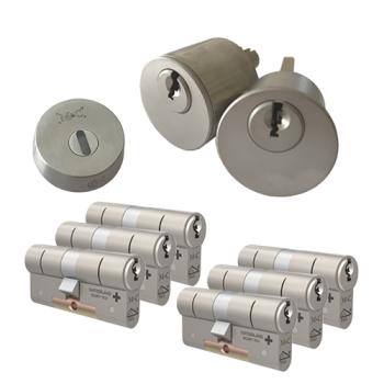 Ombouwset met RVS kerntrekrozet + M&C Matrix cilinder (6x) - SKG***
