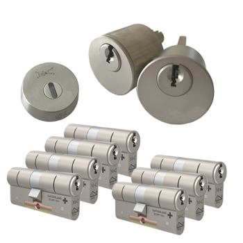 Ombouwset met RVS kerntrekrozet + M&C Matrix cilinder (7x) - SKG***