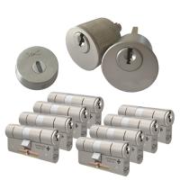 Ombouwset met RVS kerntrekrozet + M&C Matrix cilinder (8x) - SKG***