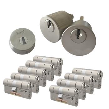 Ombouwset met RVS kerntrekrozet + M&C Matrix cilinder (9x) - SKG***