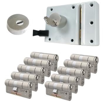Oplegslot met RVS kerntrekrozet + M&C Matrix cilinder (10x) - SKG***