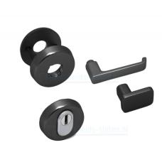 Nemef Hollands Design - rozetbeslag zwart inclusief krukken (afgerond) - SKG***