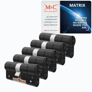 M&C Matrix cilinder zwart met kerntrekbeveiliging (5x) - SKG***