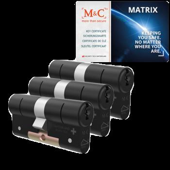 M&C Matrix cilinder zwart met kerntrekbeveiliging (3x) - SKG***